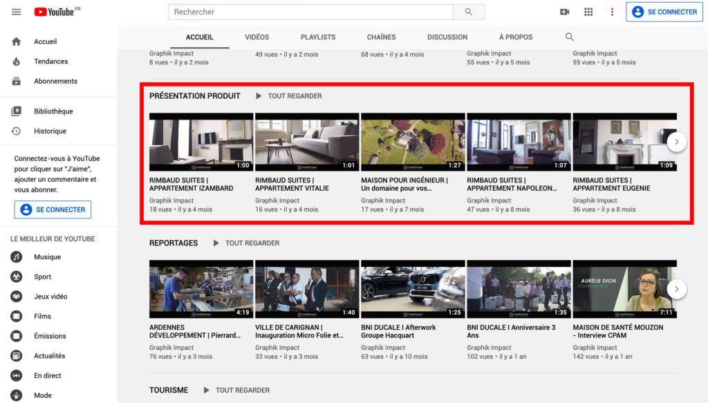 Section de Chaine Youtube